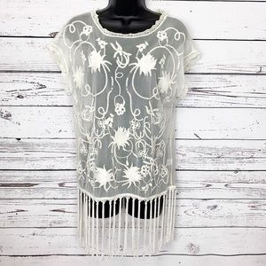 LA HEARTS ivory lace embroidery sheer fringe top